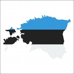 Estonia high resolution map with national flag. Flag of the country overlaid on detailed outline map isolated on white background.