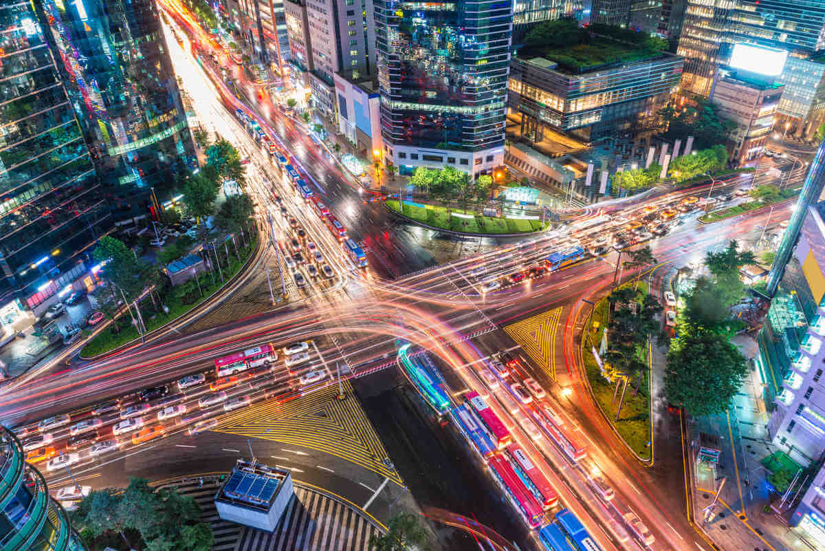 Traffic speeds through an intersection in the Gangnam district of Seoul